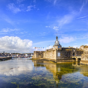Tourist Destination Framed Prints - Old Town Walls Concarneau Brittany Framed Print by Colin and Linda McKie