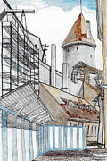 Old Drawings - Old Towns Wall by Serge Yudin