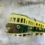Electric Train Prints - Old toy-train Print by Bernard Jaubert