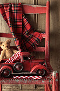 Plaid Scarf Framed Prints - Old toy truck with teddy bear on red chair Framed Print by Sandra Cunningham