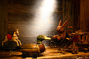 Wooden Framed Prints - Old Toys in the Attic Framed Print by Olivier Le Queinec