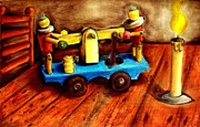 Vintage Pastels Originals - Old toys by Michael Alvarez
