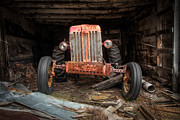 Shed Metal Prints - Old Tractor- Industrial Decor - Farm Machinary - Tractor Face Metal Print by Gary Heller