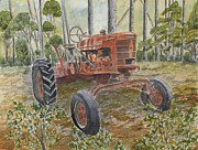 Mens Drawings Prints - Old Tractor Vintage Art Print by Derek Mccrea