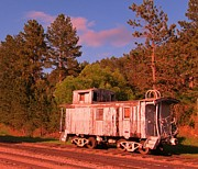 Old Caboose Posters - Old Train Caboose Poster by John Malone