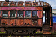 Abandoned Cars Prints - Old train car Print by Garry Gay