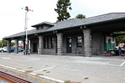 Train Stations Photos - Old Train Depot At Historic Railroad Square Santa Rosa California 5D25869 by Wingsdomain Art and Photography
