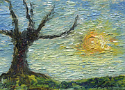 Colored Pencils Painting Originals - Old Tree and the Lazy Sun by Cathy Peterson