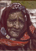 Himalaya Paintings - Old Tribal Woman from India by Mukta Gupta