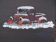Trucks Pastels - Old Truck in Snow by Mario Elia