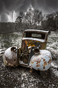 Sepia White Nature Landscapes Posters - Old Truck in the Smokies Poster by Debra and Dave Vanderlaan