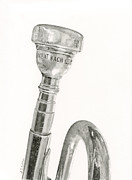Marching Band Drawings - Old Trumpet by Sarah Batalka