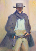 Cowboys  Painting Originals - Old Tucson Gun fighter by Ernest Principato