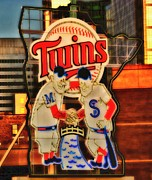 Minneapolis Mixed Media - Old Twins Sign by Todd and candice Dailey