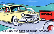 Road Trip Drawings Framed Prints - Old uno-who fixed the engine - but good Framed Print by Eldon Frye