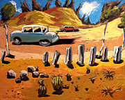 Old Cars Paintings - Old US Route 66 Tuscon 1950 by Charlie Spear