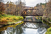 Vermont Prints - Old Vermont Train Bridge in Autumn Print by Edward Fielding