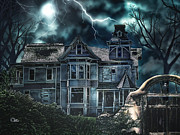 Creepy Digital Art Metal Prints - Old Victorian House Metal Print by Mo T