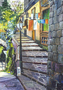 Vines Drawings Prints - Old Village Stairs- Italy Print by Carol Wisniewski