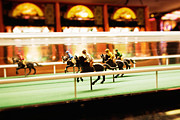 Old English Game Prints - Old vintage British amusement arcade game with horses in a race  Print by Jon Boyes