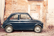 Fiat 500 Framed Prints - Old vintage fiat 500 car in Rome Italy Framed Print by Matteo Colombo