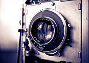 Analog Metal Prints - Old Vintage Press Camera  Metal Print by Edward Fielding