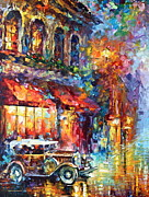 Old Automobile Posters - Old Vitebsk part 1 - left Poster by Leonid Afremov