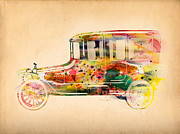 Urban Watercolor Digital Art Prints - Old Volkswagen3 Print by Mark Ashkenazi