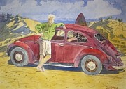 Oats Mixed Media Prints - Old VW Bug Print by Don Hand