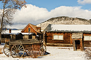 Old Cabins Posters - Old Wagon and Ghost Town Buildings Poster by Sue Smith