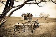Old Wagon And Homestead II Print by Athena Mckinzie