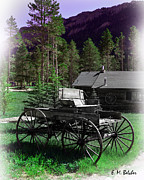 Log Cabin Art Digital Art Posters - Old Wagon  Poster by Erica Belcher