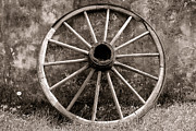 Conestoga Photo Framed Prints - Old Wagon Wheel Framed Print by Olivier Le Queinec