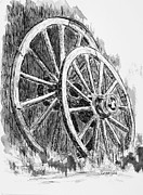 Wagon Wheels Drawings - Old Wagon Wheels by Judy Sprague