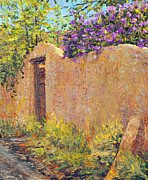 Steven Boone Art - Old Wall and Lilacs by Steven Boone