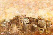 Domes Painting Prints - Old walled city of Shibam Print by Catf