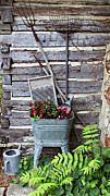 Log Cabin Photos - Old Wash Tub of Flowers by Linda Phelps