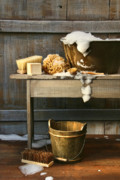 Frame House Digital Art Prints - Old wash tub with soap and scrub brushes Print by Sandra Cunningham