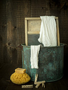Wash Tub Photos - Old Washboard Laundry Days by Edward Fielding