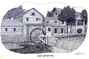 Pen And Ink Historic Buildings Drawings Drawings - Old Water Mill by Frederic Kohli