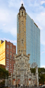 Fine American Art Prints - Old Water Tower Chicago Print by Christine Till