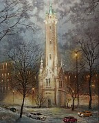 Snow Scene Paintings - Old Water Tower Milwaukee by Tom Shropshire
