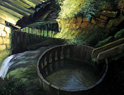 Lush Green Painting Posters - Old Watermill Poster by Kiril Stanchev