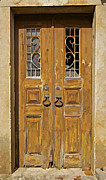 Medieval Entrance Prints - Old Weathered Brown Wood Door of Portugal Print by David Letts