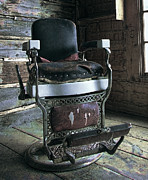 Wood Floors Framed Prints - Old West Barber Chair Framed Print by Daniel Hagerman