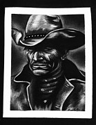 Rustic Drawings Metal Prints - Old west Cowboy Metal Print by Sheena Bolken