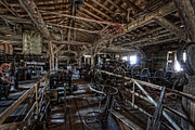 Conestoga Wagon Photos - OLD WEST WAGON STORAGE and SHOP by Daniel Hagerman