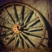 Old Wooden Wagon Prints - Old West Wagon Wheel Print by Betty LaRue