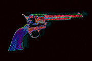 Bullet Prints - Old Western Pistol - 20130121 - v4 Print by Wingsdomain Art and Photography