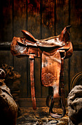 Worn Leather Posters - Old Western Saddle Poster by Olivier Le Queinec